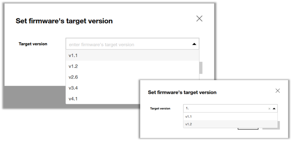 Autocomplete finds the right resource version as you type