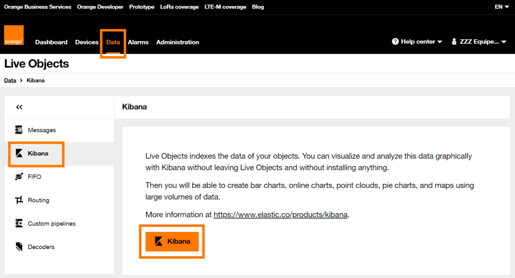 Link to Kibana on the Live Objects portal